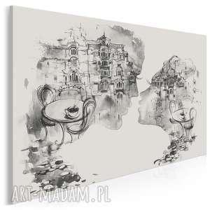 Obraz na płótnie - pocałunek restauracja czarno-biały 120x80 cm