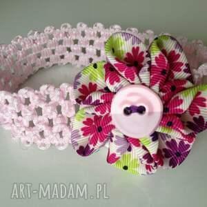 hand made dla dziecka opaska niemowlęca - kwiat z guziczkiem