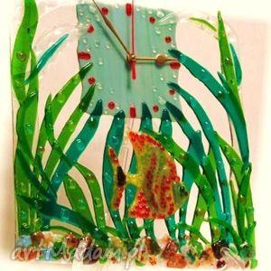 artystyczna kompozycja ze szkła - zegar złota rybka, sklo, zegary, rybki, dom