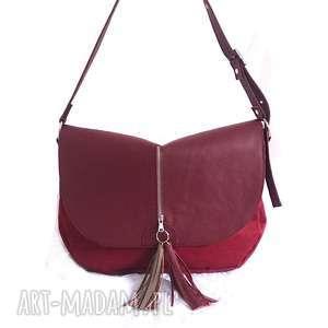 hand-made torebki bordowa z klapą i frędzlami