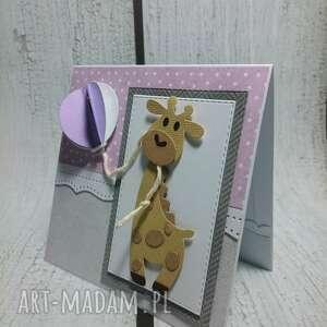 Zaproszenie kartka z balonikowa żyrafką scrapbooking kartki the