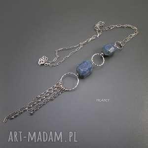 Bryłki lapis lazuli - naszyjnik, lapis, srebro, naszyjnik