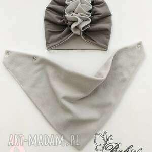 czapka turban polarowy z chustą nr 8 - szare kominy, bawełna