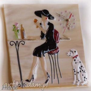 artystyczna kompozycja ze szkła - zegar dama z pieskiem, szklo, zegary, kobieta