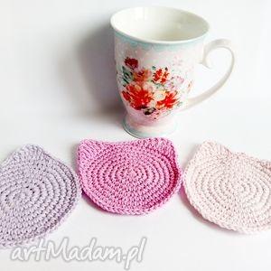 ręczne wykonanie podkładki zestaw 3 podstawek - kotki (róż i fiolet)