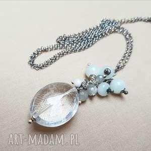 naszyjnik z kryształu górskiego i srebra - srebro, oksydowane, efektowny, kobiecy