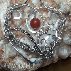 unikalny prezent, wisiorki serce wire wrapping, serce, serduszko, walentynki, srebro