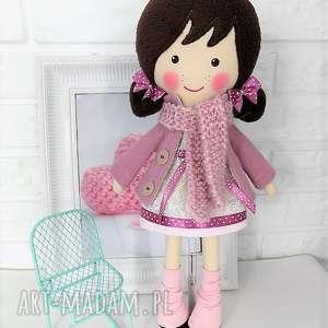 malowana lala frania z wełnianym szalikiem, lalka, zabawka, przytulanka, prezent