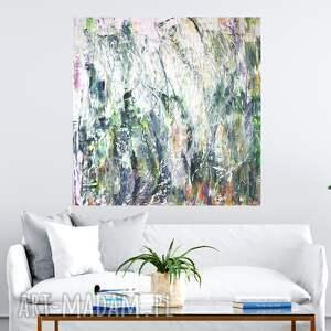 abstrakcja obraz 100x100, zielony obraz, abstrakcyjny, do salonu