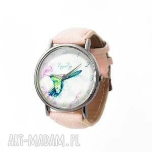 Koliber - Skórzany zegarek z dużą tarczą, zegarek, koliber, pastelowy, ptak