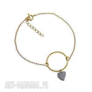 bransoletki poplavsky bransoletka serce srebro 925, bransoletka, srebro, pozłacane