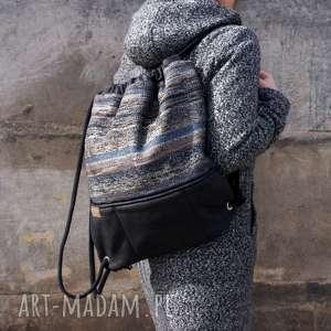 ręcznie wykonane plecak vegan troczek navaho czerń