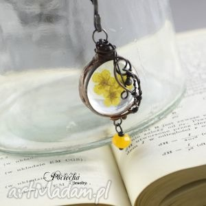 ręczne wykonanie naszyjniki yellow - naszyjnik z prawdziwymi kwiatkami