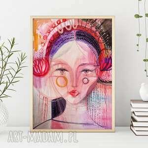 plakat 50x70cm - matrioszka, plakat, wydruk, folk, ludowa, twarz