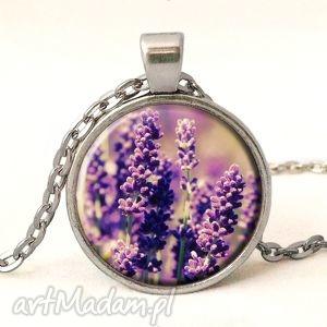 lawenda - medalion z łańcuszkiem - naszyjnik, prezent, wiosna
