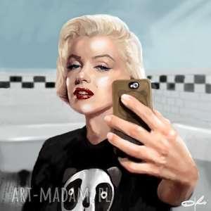 obraz na płótnie monroe selfie 100x100cm, obraz, salon, wnętrze, nowoczesny