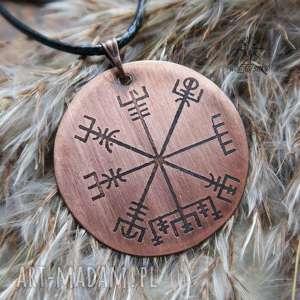wisior z trawionej miedzi - vegvisir 058, wiking, wikingowie, vegvisir, kompas