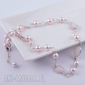 Bladoróżowy naszyjnik z pereł Swarovski - ,perły,swarovski,kwarc,naszyjnik,delikatny,
