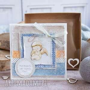 kartka z aniołkiem prezent okazji narodzin, roczku, chrztu, urodzin