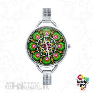 zegarek z grafiką wycinanka łowicka, folk, łowicz, etniczne, ludowe, prezent