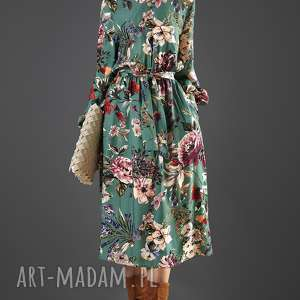 sukienki turkusowa sukienka w kwiaty paloma, sukienka, midi, wiskoza