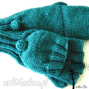 bezpalczatki z klapką 5 - rękawiczki, klapka, mitenki, druty, bezpalczatki
