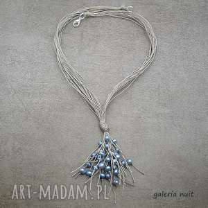 ręczne wykonanie naszyjniki jasnoniebieskie perły - naszyjnik lniany