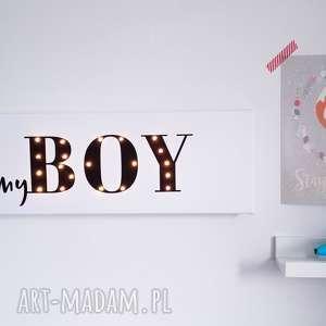 Świecący napis myboy prezent dekoracja chłopiec pokoik dziecka
