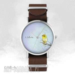 Zegarek - żółty ptaszek brązowy, nato zegarki liliarts zegarek