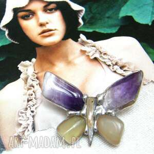 broszka mały motyl z ametystem, kamieni, ametyst, motyl, jadeit