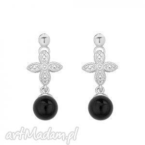 srebrne kolczyki z rozetką i czarną perłą swarovski® crystal