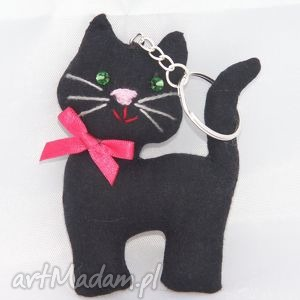 czarny kot - na szczęście, kot, kotek, brelok, breloczek, prezent, koci