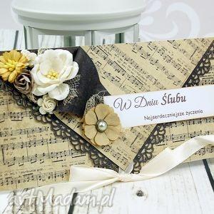 kopertówka z okazji ślubu- weselna melodia - ślub, wesele, koperta, kartka