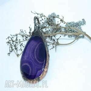 wisiorki fioletowy agat w otoczeniu miedzi-n109, agat, metaloplastyka