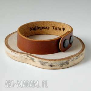 ręczne wykonanie męska skórzana bransoleta 1,5 cm - brązowa bransoletka najlepszy tata ♥