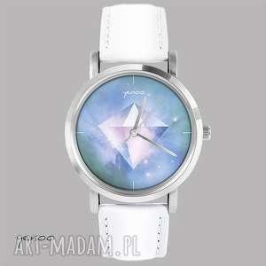zegarek, bransoletka - diament biały, skórzany, bransoletka, skórzany