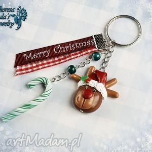 breloki świąteczny brelok renifer rudolf czerwononosy, świąteczny