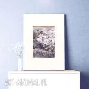 biało czarny rysunek z widokiem górskim, górami, górski szkic