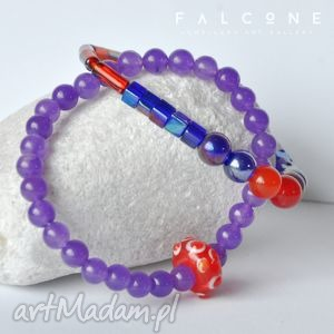 Violet & Red, bransoletki, komplet, naturalne, kamienie, kule, agat