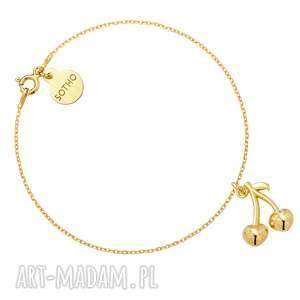 złota bransoletka z wisienkami, bransoletka, wisienki, żółte, złoto, modowa, wakacje