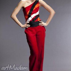 komplet red fusion, komplet, bluzka, spodnie, czerwony, len ubrania