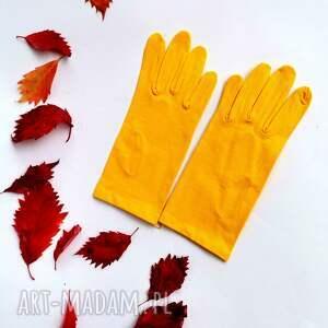 rękawiczki żółte dzianina krótkie one size, rękawiczki, folk