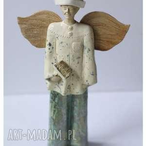 anioł malarz pokojowy, ceramika, anioł, malarz, pędzel, święta