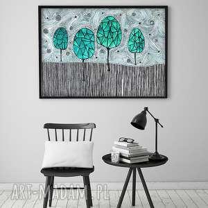 unikalny prezent, drzewa a2, plakat, grafika, obraz, drzewa, abstrakcja plakaty