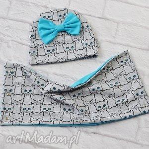 Komplet wiosenny dla dziewczynki czapka i komin, kotki , czapka, chusta,