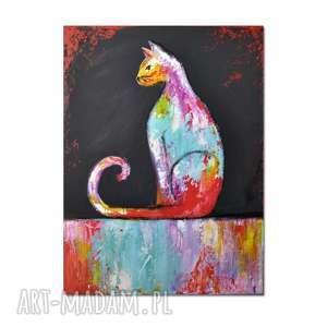 kot ml /4/, obraz ręcznie malowany, kot, obraz, ręcznie, dekoracja, prezent