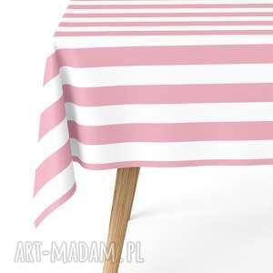 obrus 140 x 240 cm matowy wodoodporny easy iron crata różowe pasy, pasy