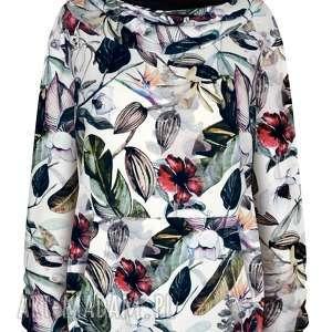 hand-made bluzy biała bluza damska w kwiaty i liście, kangurka z kapturem