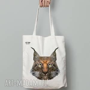 torebki torba bawełniana ryś, torba, zakupy, lis, lowpoly, torebka