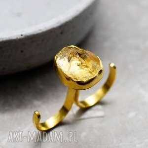 925 Srebrny pierścionek z cytrynem pozłacany 18k złotem, cytryn, kamień, półszlacetny